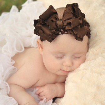 Brown Double Ruffle Infant Hair Bow Headband-brown, hairbow, infant, baby girl, fall