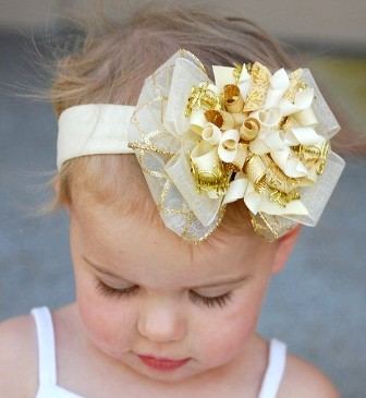 Christmas Gold Glitzy Holiday Hair Bow Headband-gold, hair bow, fancy, dressy, holiday, christmas, cream