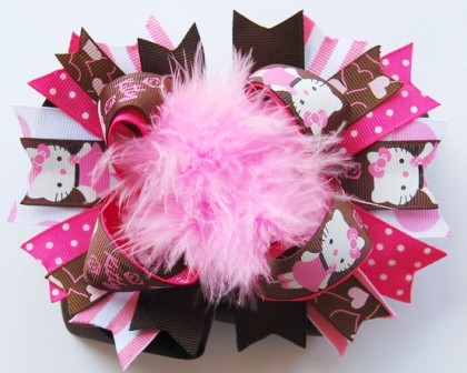 Pink & Brown Hello Kitty - Over-the-Top Hair Bow-pink, brown, hello kitty, boutique hair bow