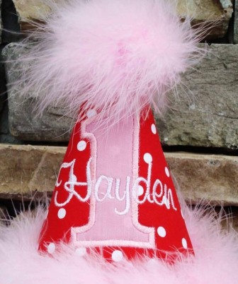 Cheery Red & Pink Custom Birthday Party Hat-red birthday party hat, birthday girl, first birthday, infant, baby girl, boutique party hat