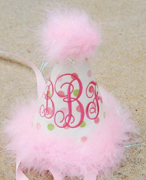 Sassy Pink & Green Dots First Birthday Party Hat-pink, birthday, first, party hat, monogram