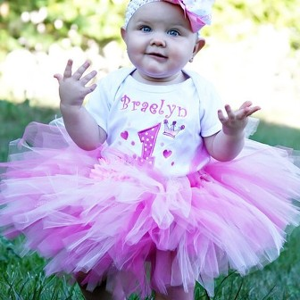 Party Princess Birthday Tutu Set-outfit set, tiara, crown, onesie, tutu, pink, white
