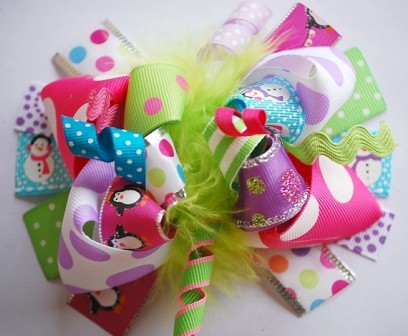 Merry Brights Loopy Hair Bow-colorful, penguins, sparkle, polka dots, holiday, snowman, boutique hair bow
