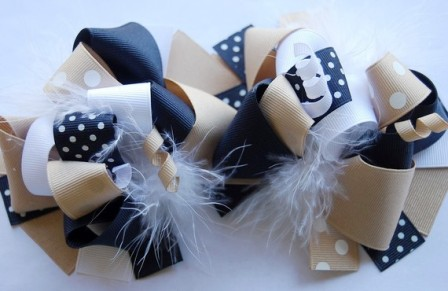 School Uniform Hair Bow Pigtail Set-navy blue, back to school, school, khaki, white, pigtails