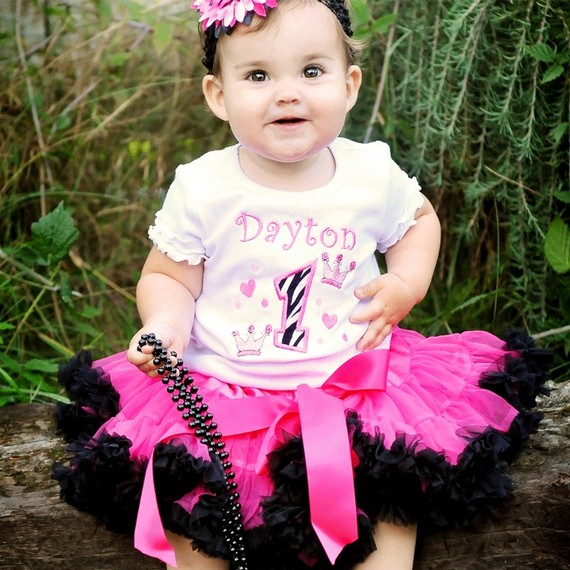 Zebra Party Princess Birthday Pettiskirt Outfit Set-hot pink, zebra, first birthday, party, boutique clothing
