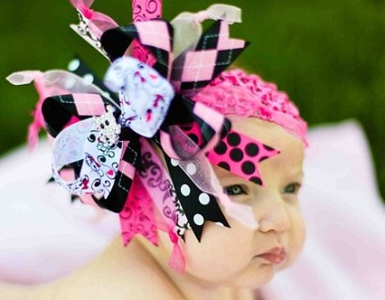 Hot Pink and Black Skull Pirate Bling - Over-the-Top Hair Bow Headband