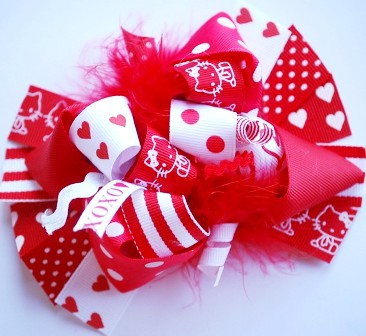 Valentine Hello Kitty Loopy Hair Bow-red, white, valentines, hearts, love, infant, baby, boutique hair bow