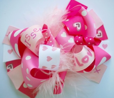 Pink Valentine Love Loopy Hair Bow-love, valentines, valentine's day, kisses, hot pink, shocking pink, boutique hair bow