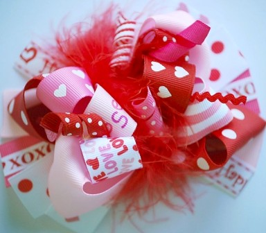 Lots of Love Loopy Hair Bow-red, pink, valentine's day, valentines, love, boutique hair bow