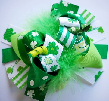 Lucky Green St. Pattys Day Loopy Hair Bow-green, st. patricks day, patrick's, boutique hair bow