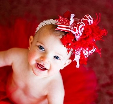 Red & White Damask - Over-the-Top Hair Bow Headband-valentines, valentine's day, hairbow, infant, baby girl, red, white, holiday, christmas
