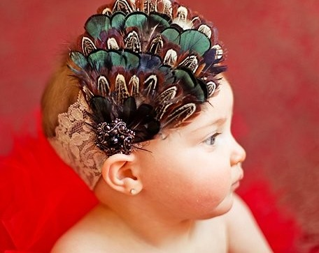Pheasant Feather Bling Oatmeal Lace Headband