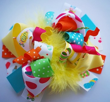 Hello Summer Loopy Hair Bow-colorful, summer, beach, picnic, infant, baby girl, boutiqu, hairbow