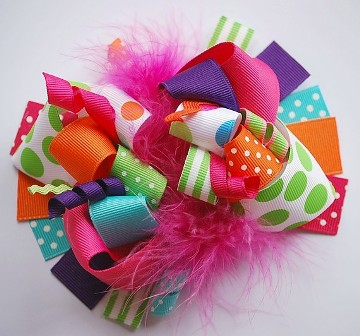 Lets Celebrate Loopy Hair Bow-infant, baby, girl, colorful, summer, birthday, party, hairbow