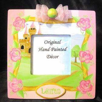 Girls Handpainted Fairy Tale Picture Frame-princess, castle, infant, baby, girl, boutique, photo, picture, frame, pink, lime, green