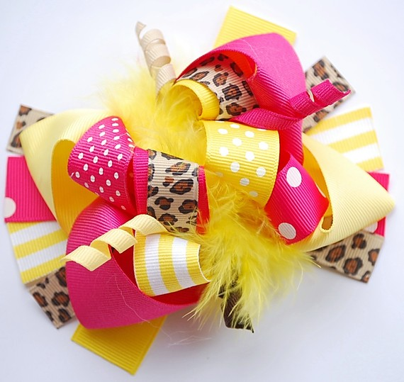 Sunny Cheetah Loopy Hair Bow-leopard, pink, yellow, hot pink, shocking pink, animal print, infant, baby girl, boutique, hairbow