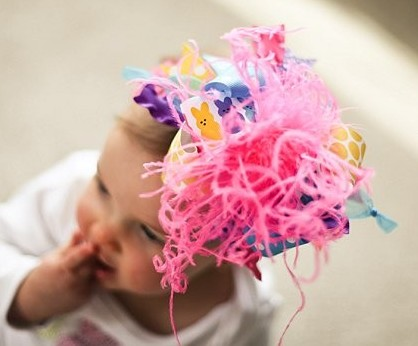 Bright Peeps Easter Over the Top Hair Bow Headband