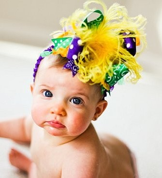 Mardi Gras Over The Top Hair Bow Headband-Purple, Green, Gold, infant, baby girl, boutique, hairbow, headband