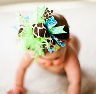 Turquoise Lime Giraffe Over The Top Hair Bow Headband-infant, baby girl, boutique, hairbow, headband