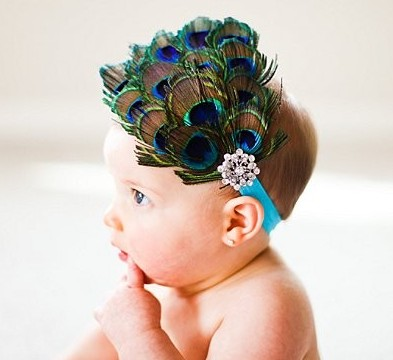 Peacock Feather Bling Headband-turquoise, vintage, infant