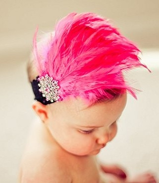 Hot Pink Feather Bling Wide Black Lace Headband