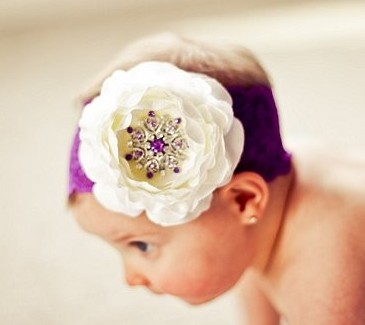 White Ranuculus Purple Bling Center Flower Lace Headband