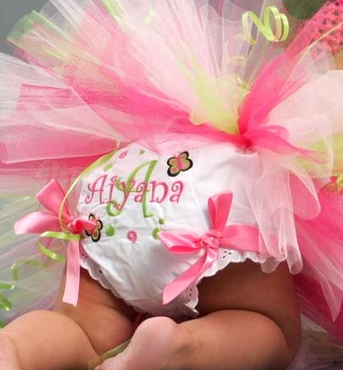 Pink Butterfly Swirls Bow Diaper Bloomers