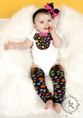 Minnie Mouse Rainbow Dots Onesie Leggings Hair Bow Outfit Set