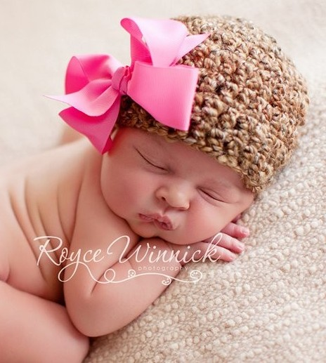 Soft Brown Newborn Beanie with Pink Bow-newborn, infant, baby girl, boutique, hat, pink, brown