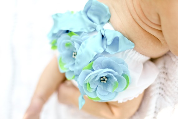 Aqua & Lime Flower Cluster Bloomer Headband Set