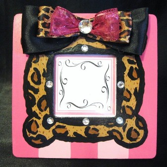 Girls Hand Painted Leopard Print Frame-pink, leopard, animal print, boutique, photo frame