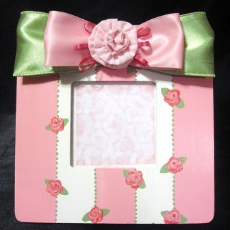 Girls Pink & Green Rose Hand Painted Picture Frame-infant, baby girl, boutique, photo frame, decoration, room