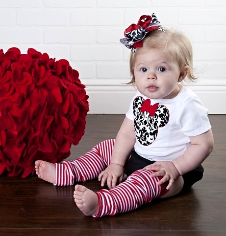 Minnie Mouse Damask Onesie & Hair Bow Outfit Set