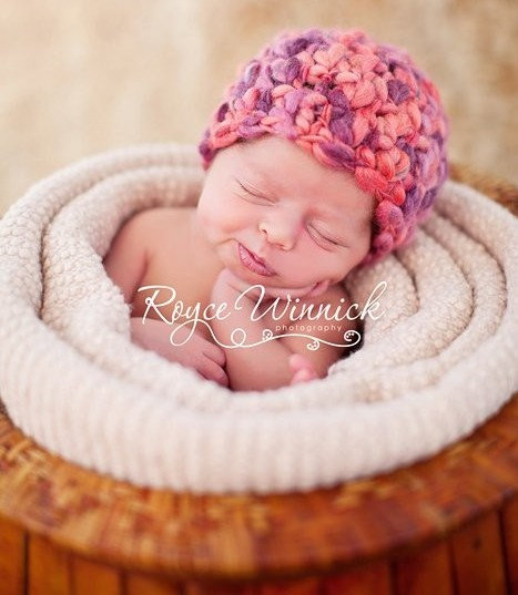 Soft Purple and Peach Newborn Beanie-newborn infant hat