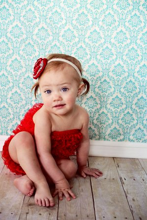 Red Lace Petti Romper-infant, baby girl, boutique, newborn, holiday, christmas, ruffle