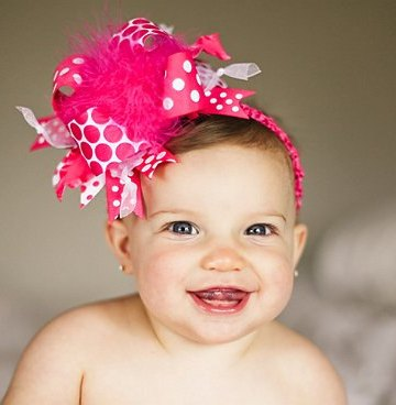 Shocking Bright Pink & White Over-the-Top Hair Bow Headband-pink, shocking pink, hot pink, hairbow, infant, baby girl, boutique