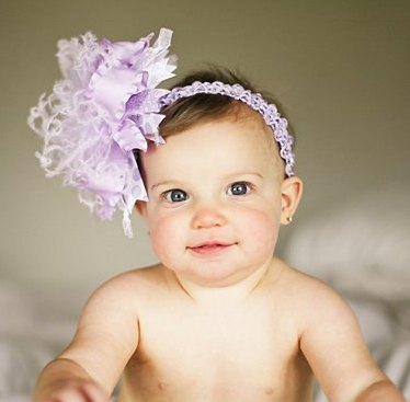 Purple Lavender & White - Over-the-Top Hair Bow Headband