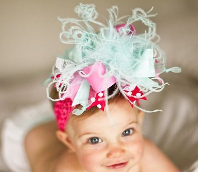 Aqua and Pink Over The Top Hair Bow Headband-infant, baby, girl, boutique, hairbow, boutique, pink, aqua blue