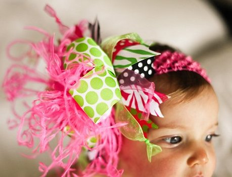 Hot Pink Lime and Black Zebra Over The Top Hair Bow Headband-pink, green, infant, baby girl, boutique, hairbow, headband, summer, spring,