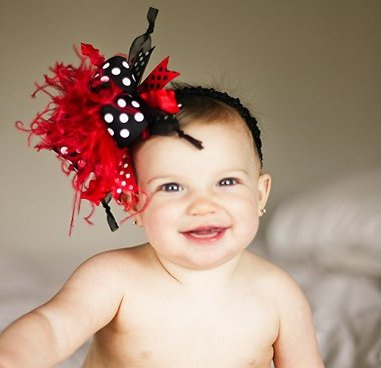 Red & Black - Over-the-Top Hair Bow Headband-black, red, red and black, infant, baby girl, boutique headband, hairbow, boutique