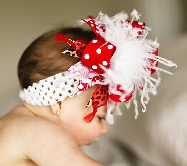 Red White & Leopard Over The Top Hair Bow Headband-red, white, cheetah, infant, baby girl, animal print, posh, boutique, hairbow