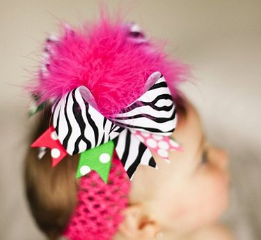 Shocking Pink Green Zebra Over The Top Hair Bow Headband-zebra, pink, green, infant, baby girl, boutique, hairbow, headband