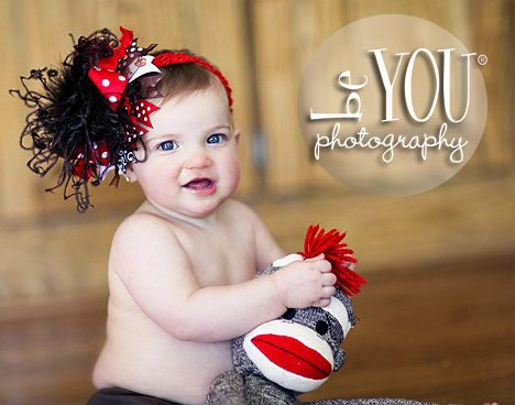 Sock Monkey Red & Brown Over The Top Hair Bow Headband-infant, baby girl, boutique, hairbow, feathers,