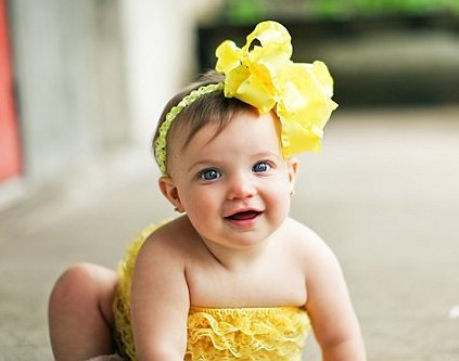 Large Yellow Double Ruffle Hair Bow Headband