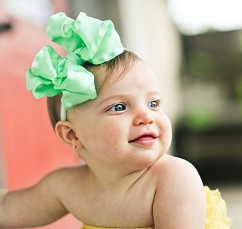 Mint Green Double Ruffle Hair Bow Nylon Headband