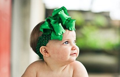 Kelly Dark Green Double Ruffle Bow Hair Bow Headband-st. patricks day, christmas, holiday, green, saint, hairbow
