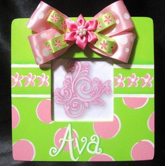 Girls Pink & Lime Hand Painted Picture Frame-dots, infant, baby girl, boutique, photo, frame, hot pink, lime green, room, decoration