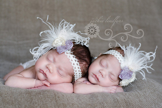 Lavender & Ivory Lace Rosette Vintage Flower Headband-vintage, feather, purple, infant, baby girl