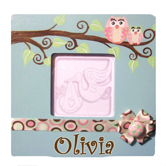 Girls Hand Painted Owl Frame-infant, baby girl, boutique, photo frame, bird, owl, room, decoration
