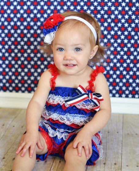4th of July Lace Petti Romper Red, White & Blue-